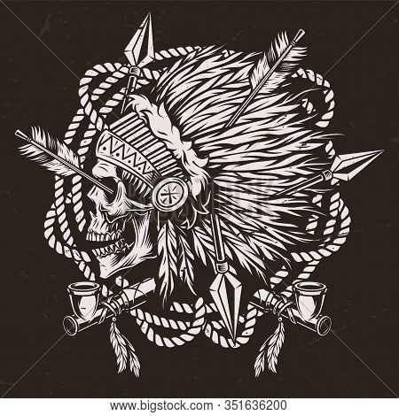 Authentic Wild West Monochrome Concept With Smoking Pipes And American Indian Chief Skull In Feather