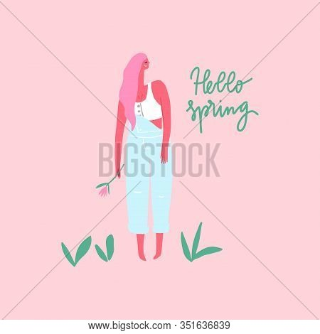 Happy Woman With Flower In Denim Jumpsuit. Hello Spring. Vector Flat Illustration