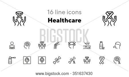 Healthcare Line Icon Set. Set Of Line Icons On White Background. Medicine Concept. Bone Breaking, Xr