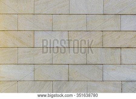 Pano Of Rectangular Stone Banded Blocks Of Yellowish-gray Color.