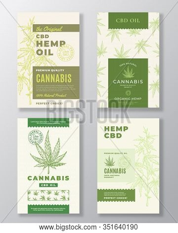 Cbd Hemp Oil Abstract Vector Design Labels Bundle. Modern Typography And Hand Drawn Cannabis Plant B