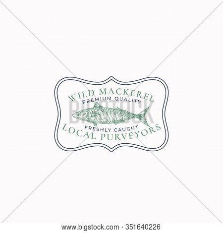 Fish Vintage Frame Badge Or Logo Template. Hand Drawn Wild Ocean Mackerel Sketch Emblem With Retro T