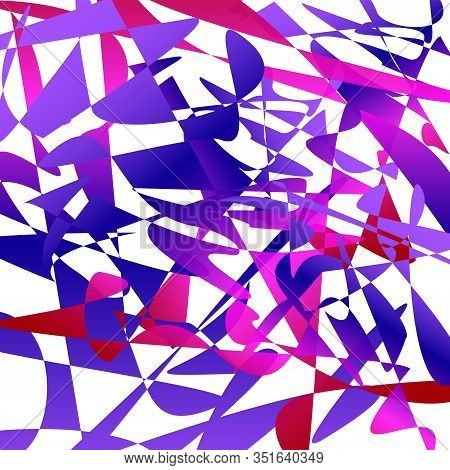 Futuristic Background. Geometric Dark Blue, Purple, Red, Pink Shapes. Chaotic Splinters And Fragment