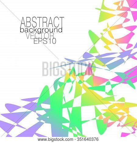 Futuristic Geometric Background. Violet, Green, Yellow, Pink Gradient. Multicolored Splinters And Fr