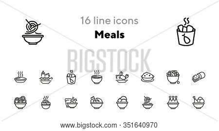 Meals Line Icon Set. Bowl, Chicken, Chinese Noodle. Food Concept. Can Be Used For Topics Like Cookin