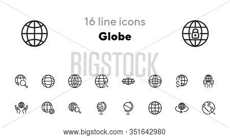 Globe Line Icon Set. World, Network, Hands. Global Concept. Can Be Used For Topics Like Worldwide Bu