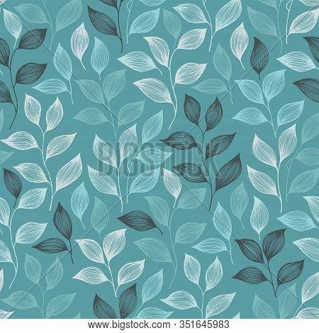 Packaging Tea Leaves Pattern Seamless Vector. Minimal Tea Plant Bush Leaves Floral Fabric Design. He