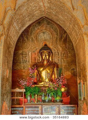 altar of Buddha Dhamma in Burmese temple Ya Zi Ka in Bagan Burma poster