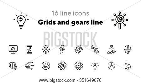 Grids And Gears Line Icons. Set Of Line Icons On White Background. Technology Concept. Control, Inte