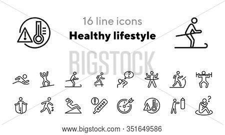 Healthy Lifestyle Line Icon Set. Swimming, Skiing, Gym. Activity Concept. Can Be Used For Topics Lik