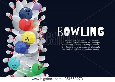 Bowling Colorful Balls Crashing Into The White Glossy Skittles Vector Illustration. Sport Bowling Th