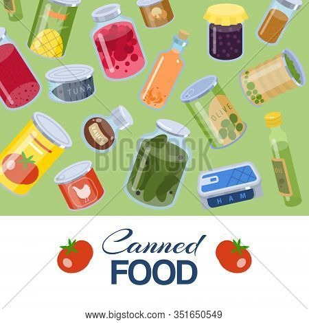 Canned Food Goods Pattern On Green Background Vector Illusration Poster. Package Of Various Goods Ti
