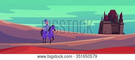 Medieval Castle And Knight On Horse Cartoon Vector Illustration Banner. Brave Warrior Find The Way T