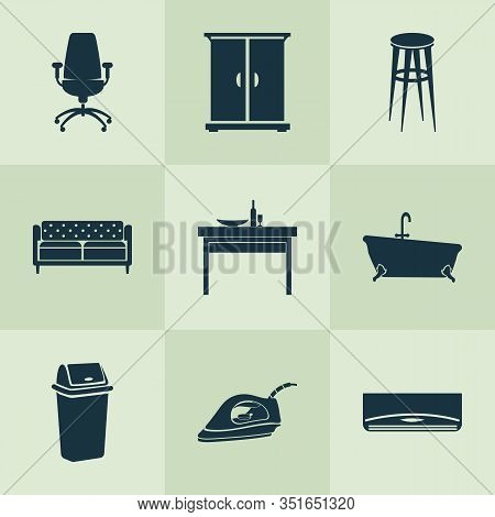 Housing Icons Set With Trash Bin, Couch, Office Chair And Other Ergonomic Armchair Elements. Isolate