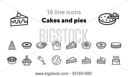 Cakes And Pies Line Icon Set. Birthday Cake, Slice, Cookie, Pancake. Food Concept. Can Be Used For T