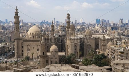Aerial View Of The Old Part Of Cairo. Mosque-madrassa Of Sultan Hassan. Cairo. Egypt. Timelapse.