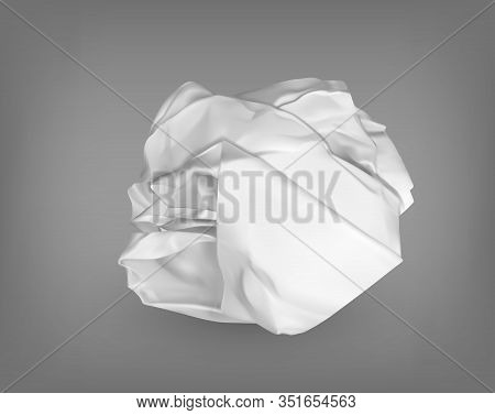 Wrinkled Or Crumpled Garbage Paper Or Trash Ball. Scrunched And Wrinkled, Rumpled And Damaged Object