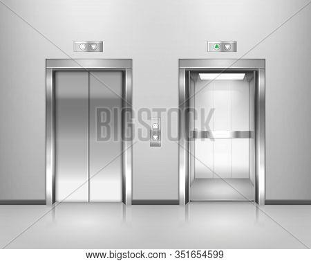 Set Of Isolated Elevator Doors. Opened And Closed Metal Lift With Lamp And Up, Down Buttons. Buildin