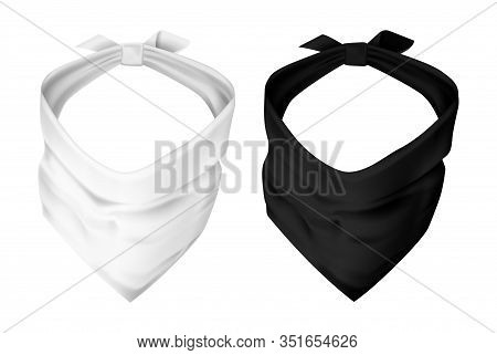 Set Of Realistic Face Mask Or Kerchief For Head Cover, Gatier Clothing Or Balaclava, Band For Hiding