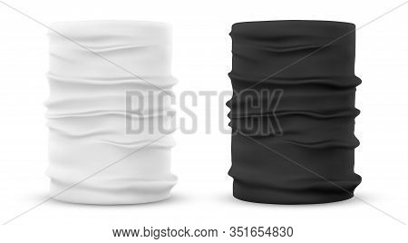 Black And White Template Of Face Buff Or Gaier Mask, Realistic Neck Warming Cloth. Set Of Isolated W