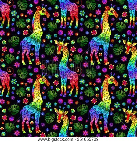 Seamless Pattern With Giraffs, Bright Rainbow Animals, Flowers And Leaves On A Dark Background