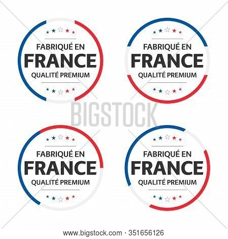 Set Of Four French Icons, French Title Made In France, Premium Quality Stickers And Symbols With Sta