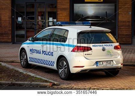 Ostrava, Czechia - February 18, 2020: Ecologic And Electric Vw E-golf Police Car Of The Ostrava Town