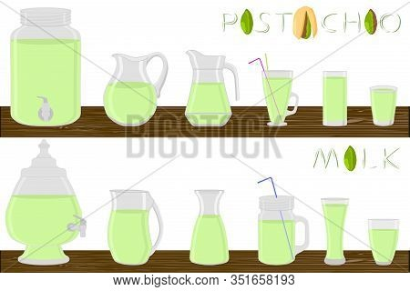 Kit Different Types Glassware, Pistachio Milk In Jugs Various Size. Glassware Consisting Of Organic