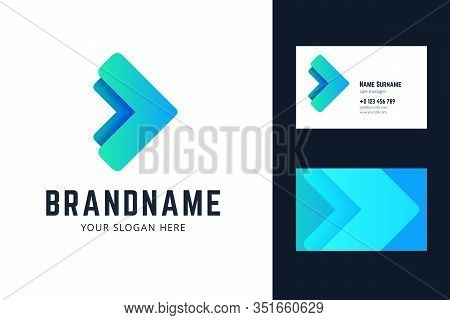 Logo And Business Card Template With Two Arrows. Vector Illlustration In Modern Gradient, Origami St