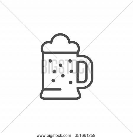 Beer Glass Line Outline Icon Isolated On White. Pint Of Alcohol With Bubble Foam. Booze. Vector Illu