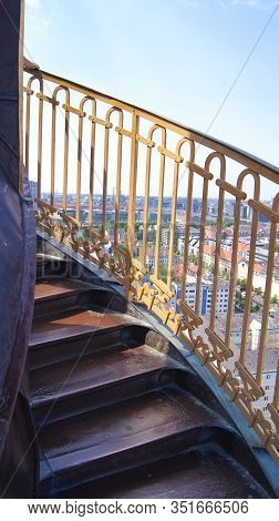 Copenhagen, Denmark - Jul 06th, 2015: External Winding Staircase To The Top Of Church Of Our Saviour