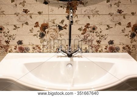 Luxury Washbasin In The Hotel. Designer Bathroom In The Spa . Washbasin Close-up, Soft Focus