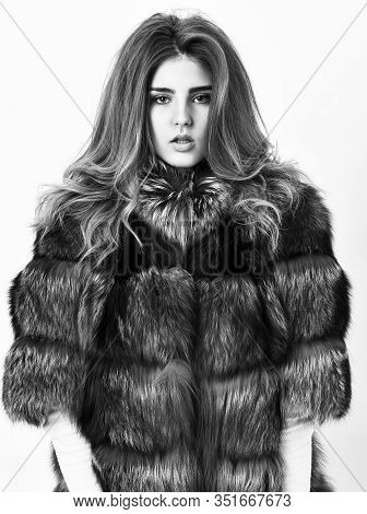 Woman Makeup And Hairstyle Posing Mink Or Sable Fur Coat. Fur Fashion Concept. Winter Elite Luxury C
