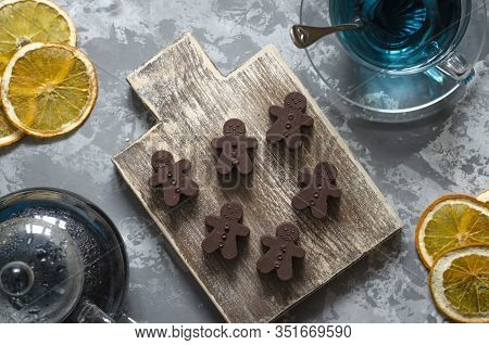 Homemade Chocolates With A Teapot And A Cup Of Tea