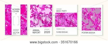 Geographic Map Fluid Paint Vector Cover. Brown Red Earth Soil Volcano Design. Trendy Magazine, Corpo