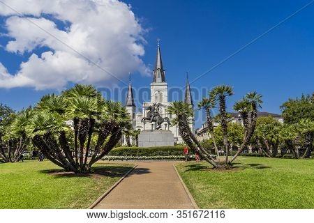 New Orleans, Louisiana, United States - October 6, 2019 Andrew Jackson Statue Square Saint Louis Cat
