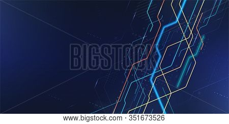 Abstract Hi-tech Background With Neon Line, Dots And Technology Design Elements. Technology Connecti