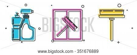 Set Plastic Bottles For Liquid Dishwashing Liquid, Squeegee, Scraper, Wiper And Squeegee, Scraper, W