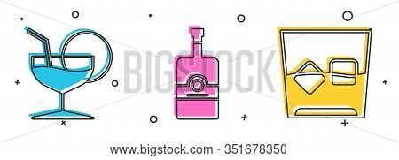 Set Martini Glass , Whiskey Bottle And Glass Of Whiskey And Ice Cubes Icon. Vector