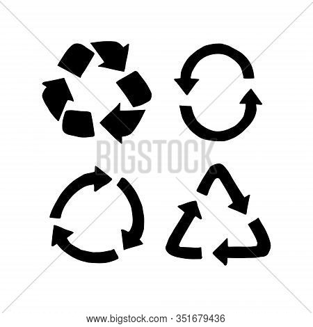 Vector Set Bundle Of Black Hand Drawn Doodle Sketch Recycle Symbol Isolated On White Background