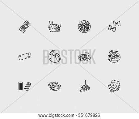 Traditional Meal Icons Set. Rigatoni Pasta Shape And Traditional Meal Icons With Pasta Carbonara, Ra
