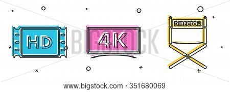 Set 4k Movie, Tape, Frame , Screen Tv With 4k Ultra Hd Video Technology And Director Movie Chair Ico