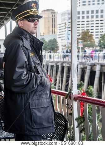 New Orleans, Usa - Dec 11, 2017: A Watchman Onboard The Steamboat Natchez, Keeping An Eye On Safety