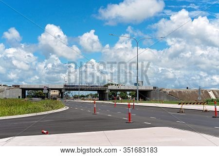 Mackay, Queensland, Australia - February 2020: Roadworks Nearing Completion On Highway Bypass Constr