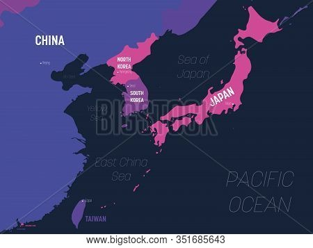 East Asia Map. High Detailed Political Map Of Eastern Region With Country, Capital, Ocean And Sea Na