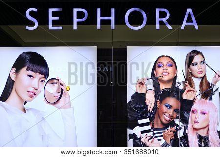 Szczecin, Poland. 6 October 2018. Sign Sephora. Company Signboard Sephora.
