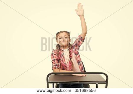 September 1 The First Day Of School Year. Little Girl Raising Hand On September 1 Isolated On White.