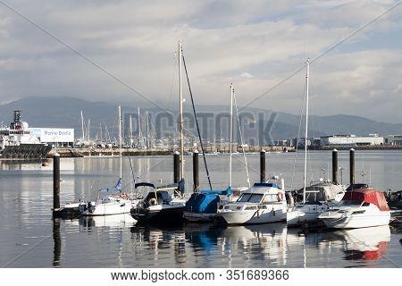 Vigo, Spain - Jan 26, 2020: Boats In The Marina Of Agrupacion Nautica San Gregorio In Beiramar Avenu