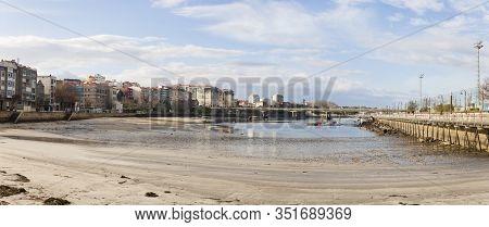 Vigo, Spain - Jan 26, 2020: Panorama View Of The Beach Of Bouzas With Marina And Promenade On Januar