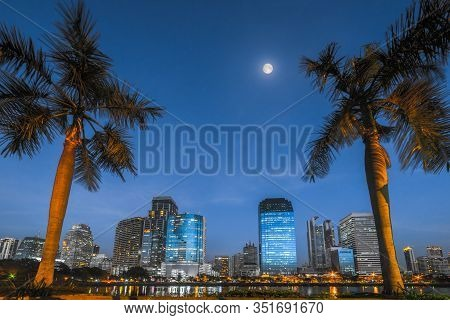 Lake With Palm Trees In City Park Under Skyscrapers At Night. Benjakiti Park In Bangkok, Thailand